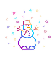 linear colorful icon a snowman with a festive vector image