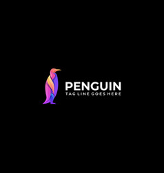 logo penguin stands gradient colorful vector image