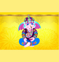 Lord ganesha on yellow luxury background vector