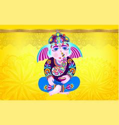 lord ganesha on yellow luxury background vector image