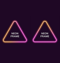 neon frame in triangular shape template vector image