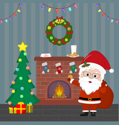 new year and christmas card santa claus is vector image