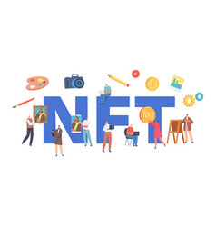 Nft non fungible token concept characters use vector