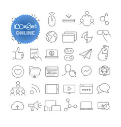outline icon set pictogram set online vector image