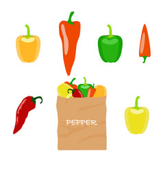 Pepper in brown paper bag vector