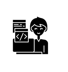 programming black icon sign on isolated vector image
