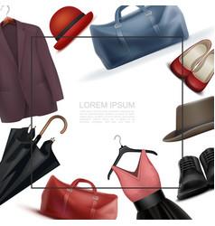 Realistic modern wardrobe elements template vector