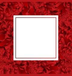 Red chrysanthemum flower banner card vector