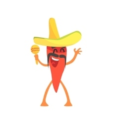 Red Hot Chili Pepper Humanized Emotional Flat vector