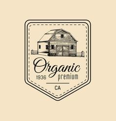 retro farm logotype organic premium vector image