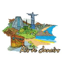 rio de janeiro doodles vector image