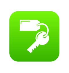 room key hotel icon green vector image