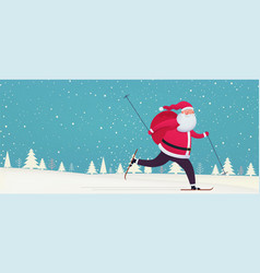 Santa claus skiing with bag gifts on snowy vector