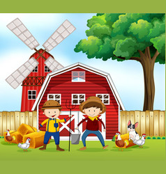 scene with two farmers and animals vector image