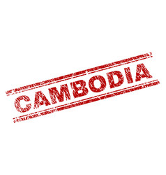 Scratched textured cambodia stamp seal vector