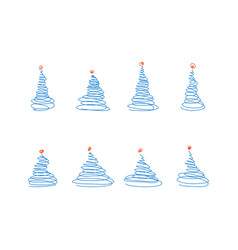 set from sketch blue christmas trees vector image