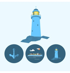Set icon with lighthouse anchor container ship vector image