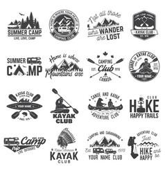 set of canoe hiking kayak and camping club badge vector image