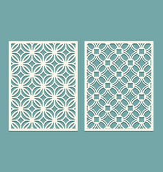 set of die cut card laser cutting panels cutout vector image