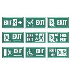 set of emergensy exit signs fire exit labels vector image