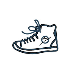 shoes sneakers monochrome icon in line art style vector image