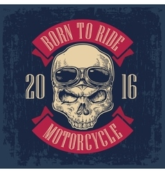 Skull with glasses for motorcycle on forehead vector
