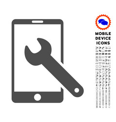 Smartphone setup wrench icon with set vector