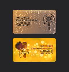 sound recording studio set business cards vector image