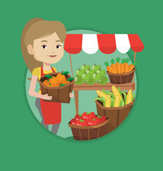 street seller with fruits and vegetables vector image
