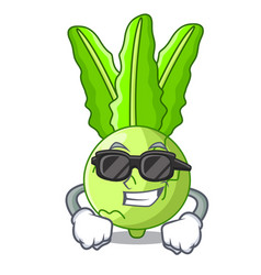 Super cool character kohlrabi on a wooden table vector