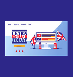 time to learn english- british flag with computer vector image