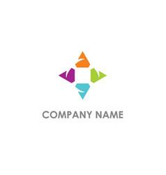 Triangle circle arrow colored logo vector