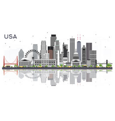 usa city skyline with gray buildings and vector image