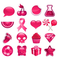 Various Pink Icons vector image