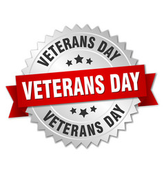 Veterans day round isolated silver badge vector