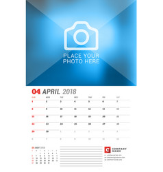 Wall calendar planner for 2018 year april print vector
