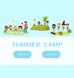 web template kids summer camp holidays and vector image