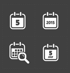 white calendar icons vector image
