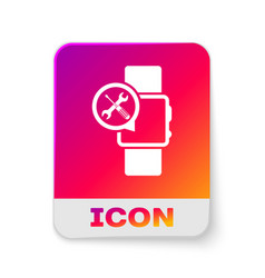 White smartwatch with screwdriver and wrench icon vector