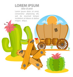 Wild west covered wagon cactus star vector