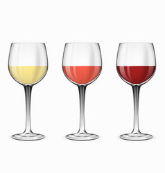 Wine glasses Glass of red rose and white vector image