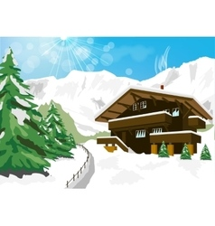 winter scenery with snow chalet and mountains vector image