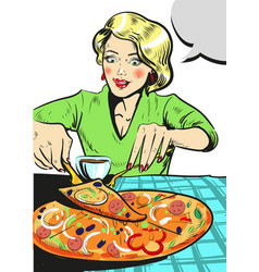 woman eating pizza comic vector image