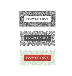 Flower shop florist labels vector image vector image