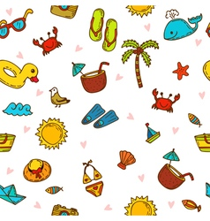I love summer Seamless summer pattern with hand vector image