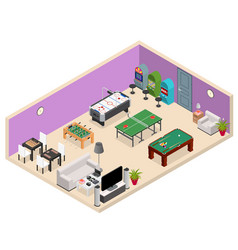 interior game room isometric view vector image vector image