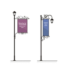 Vintage Lamp post sign vector image vector image