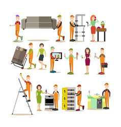 worker people flat icon set vector image vector image