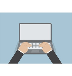 Businessman hand on laptop keyboard with blank scr vector image vector image