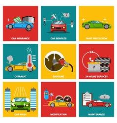 Car flat design icon set vector image